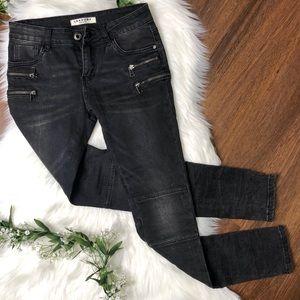 Lexxury | Black Moto Zipper Skinny Jeggings Jeans